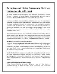Advantages of Hiring Emergency Electrical contractors in gold coast