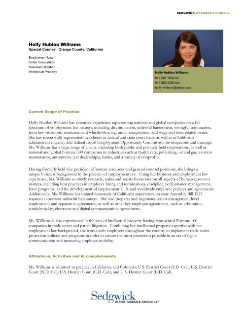 Holly Hublou Williams has extensive experience representing ...