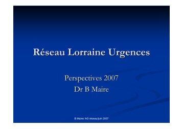 Reseau Lorraine Urgences, AG - COLMU