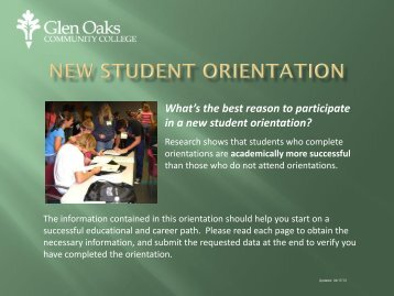 Online Orientation - Glen Oaks Community College