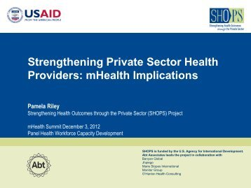 Strengthening Private Sector Health Providers ... - (SHOPS) project