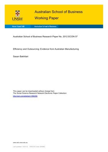 Efficiency and Outsourcing: Evidence from Australian Manufacturing
