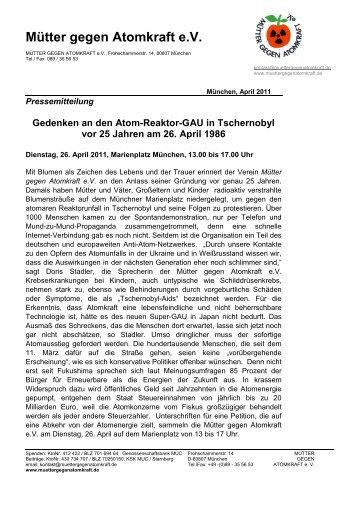 Gedenken an den Atom-Reaktor-GAU in Tschernobyl vor 25 Jahren ...