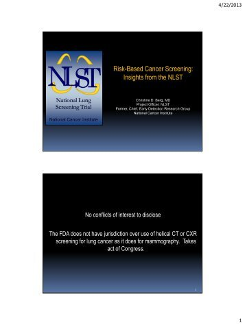 NLST Methodology and design - Cancer Research UK