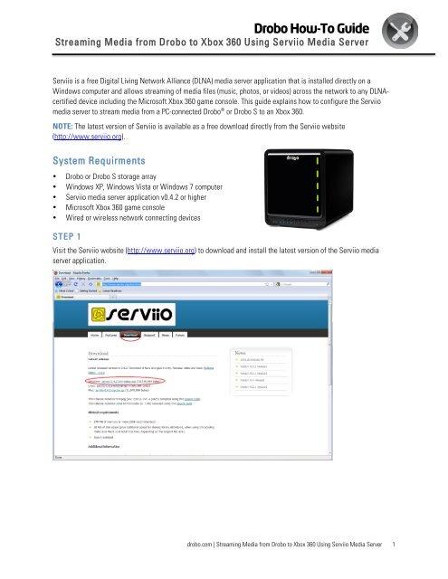 Streaming Media from Drobo to Xbox 360 Using Serviio Media