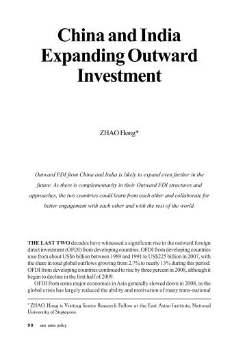 China and India Expanding Outward Investment - East Asian Institute