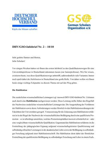 DHV/GSO-Infobrief Nr. 2 – 10/10 - German Scholars Organization
