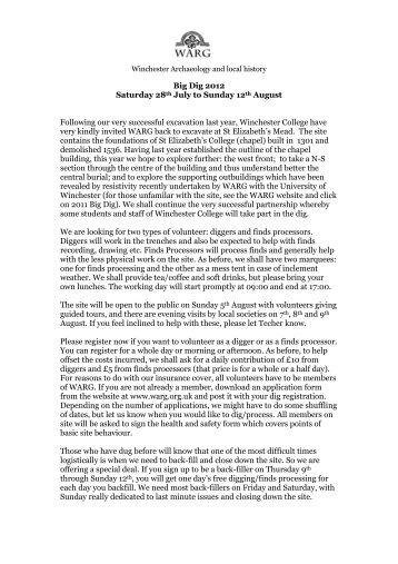 Big Dig 2012 Saturday 28th July to Sunday 12th ... - Warg.org.uk