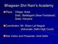 Bhagwan Shri Ram's Academy - Asha for Education