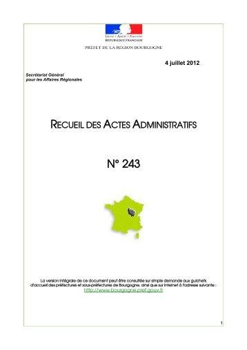 RAA 243 - Préfecture de la Côte-d'Or