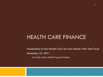 health care finance - San Francisco Department of Public Health