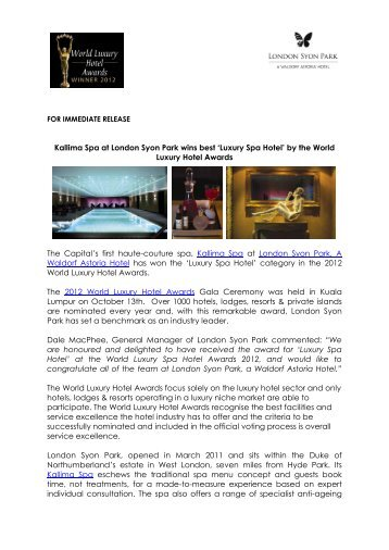 Kallima Spa at London Syon Park wins best 'Luxury Spa Hotel' by ...