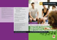 counselling psychology - Health Sciences - Curtin University