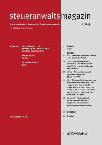 steueranwaltsmagazin 2/2013 - Wagner-Joos Rechtsanwälte