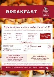 Breakfast menu - Toby Carvery