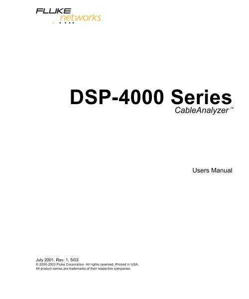 Fluke DSP-4300 Cable Analyzer User Manual - Mr Test Equipment