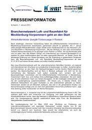 und Raumfahrt für Mecklenburg-Vorpommern geht an den Start