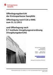 Offenlegungsbericht der Kreissparkasse Saarpfalz Offenlegung ...