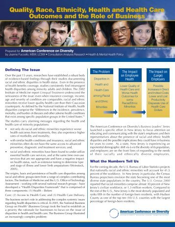 Quality, Race, Ethnicity, Health and Health Care Outcomes and the ...