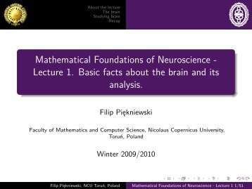 Mathematical Foundations of Neuroscience - Lecture 1. Basic facts ...