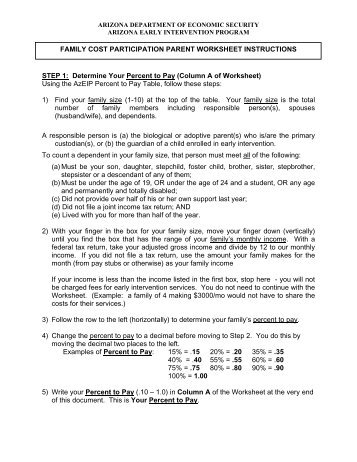Worksheet to Help Determine Cost for Services - Arizona ...