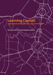 Learning Capital: an integrated tertiary education system for the ACT