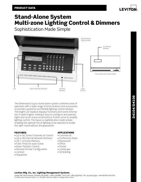 Stand-alone System Multi-zone Lighting control & dimmers