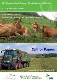 Call for Papers - Wissenschaftstagung Ökologischer Landbau
