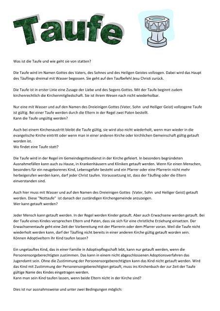 Was Ist Die Taufe Und Wie Geht Sie Von Statten Die Taufe