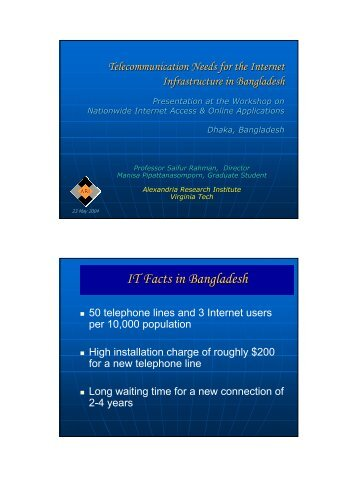 IT Facts in Bangladesh - ceage - Virginia Tech