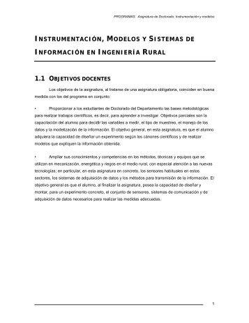instrumentación, modelos y sistemas de información en ingeniería ...