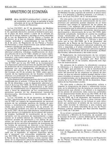 Real Decreto Legislativo 1/2002 de 29 de Noviembre - BOE.es