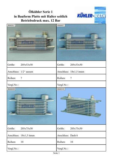 Ölkühler Serie 1 in Bauform Platte mit Halter seitlich Betriebsdruck ...