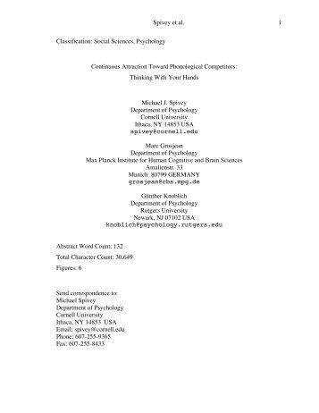 Spivey et al. 1 Classification: Social Sciences, Psychology ...