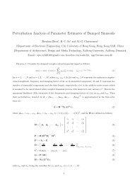 Perturbation Analysis of Parameter Estimates of Damped Sinusoids