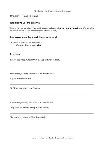 Worksheets 1000 Active Passive Sentences a make these sentences passive profeblog chapter i voice
