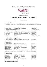 PRINCIPAL PERCUSSION - West Australian Symphony Orchestra