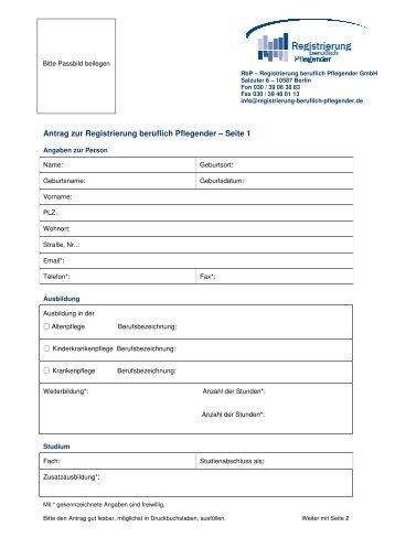 Antrag zur Registrierung beruflich Pflegender - DIVI