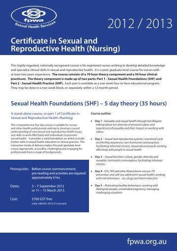 Certificate in Sexual and Reproductive Health (Nursing)