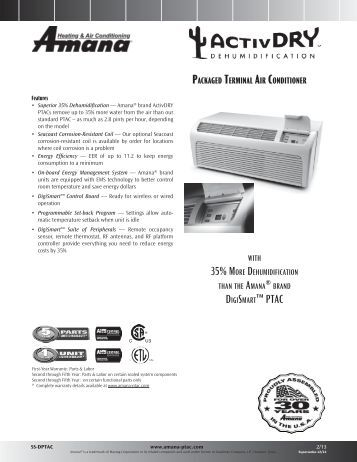 load remote thermostat activdry specifications amana ptac