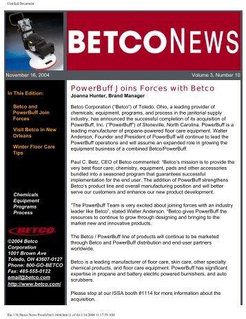 Betco News November 16, 2004 - Betco Corporation