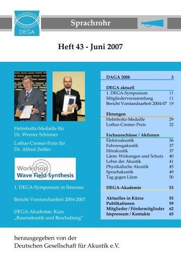 Sprachrohr Heft 43 - Juni 2007 - Deutsche Gesellschaft für Akustik eV