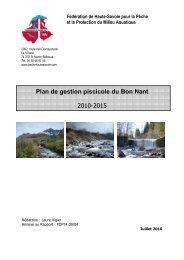plan de gestion Bon nant 2010-2015 - Fédération de pêche de la ...