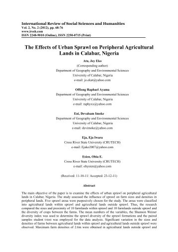 The Effects of Urban Sprawl on Peripheral Agricultural Lands