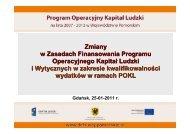 Zasady finansowania PO KL - Strona Departamentu Europejskiego ...