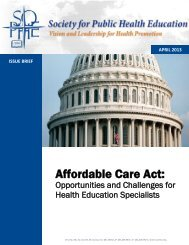 Affordable Care Act - Society for Public Health Education