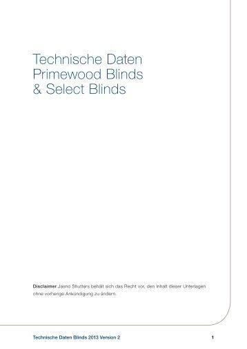 Technische Angaben zu Blinds - Jasno Shutters BV