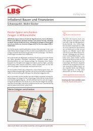 Infodienst Bauen und Finanzieren - Riester-Sparer verschenken - Lbs