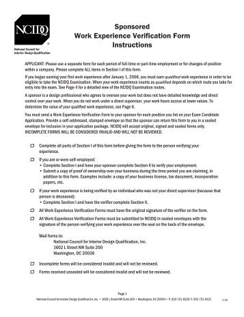 Direct Supervision Work Experience Verification Form - NCIDQ ...