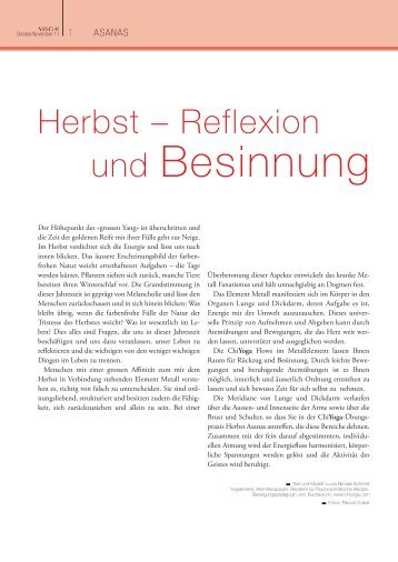 Herbst – Reflexion und Besinnung - YOGA! Das Magazin
